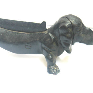Antique Dachshund Dog Boot Scrapper, Small Animal, Antique Alchemy, Paperweight, Door Stop