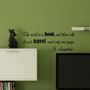 The World Is a Book St Augustine Quote Wall Vinyl Decal Travel Reading Library Theme