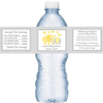 21 Yellow Elephant Baby Shower Water Bottle Labels