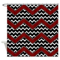 Black White Red Chevrons Shower Curtain> Shower Curtains> Bloomingvinedesign's Cafe Press Shop