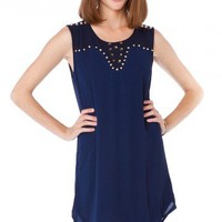 Stud Heart Tank Shift in Navy - ShopSosie.com