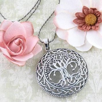 Large Rounded Celtic Tree of Life Necklace in Sterling Silver
