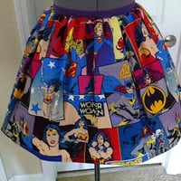 Licensed Girl Power fabric full skirt - elastic waistband - Batgirl, Super Girl, Wonder Woman - made to order