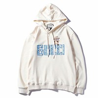 """Hot Sale """"GUCCI"""" Popular Women Men Casual Lovely Small Pig Letter Embroidery Long Sleeve Hooded Sweatshirt Pullover Top White I-GQHY-DLSX"""