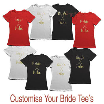 8 x Customised Bridesmaid shirt, Bridesmaid T Shirt, Bride Shirt, Bachelorette T-Shirt, Bride Shirt, Bride Tribe Shirt, Glittery Gold Shirt