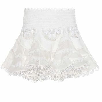 Whitewave Doily linen and silk skirt
