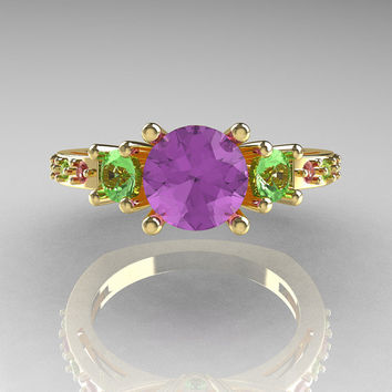 Classic French Bridal 10K Yellow Gold Three Stone 1.0 Carat Lilac and Green Amethyst Engagement Ring AR112-10KYGLGAM