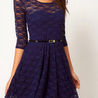 Natty - Blue Dress with Belt