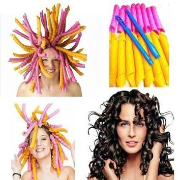 55CM 18pcs Large Long Magic Elastic Hair Curlers Spiral Rollers Hair Care with hook [8323210561]