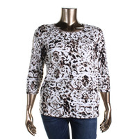 JM Collection Womens Plus Knit Printed Casual Top