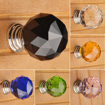 30Mm Round K9 Crystal Glass Door Drawer Cabinet Wardrobe Pull Handle Knobs La5002 Aluminium Alloy K9 Crystall