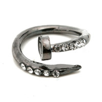 Gunmetal Wrapped Nail Ring