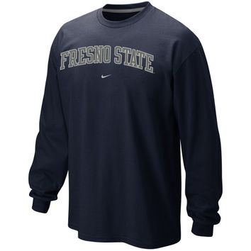 Nike Fresno State Bulldogs  Vertical Arch Long Sleeve T-Shirt - Navy Blue