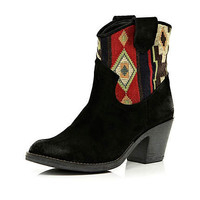 Black woven aztec panel western ankle boots