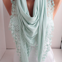 NEW - Light Mint - Jersey Scarf - Shawl Scarf - triangle scarf - Headband - Cowl with Lace Edge - Women's Fashion Accessories  DIDUCI