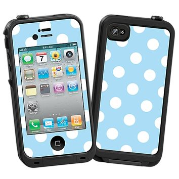 White Polka Dot on Baby Blue Skin for the iPhone 4/4S Lifeproof Case by skinzy.com