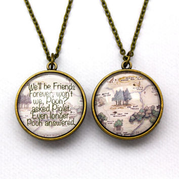 Winnie the Pooh, Friends Forever Quote & Hundred Acre Map Double-Sided Necklace