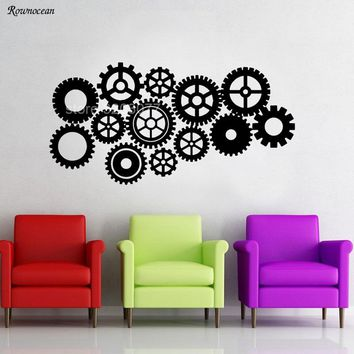 Creative Design Gear Wall Stickers Home Decor Living Room Steampunk Gears and Cogs Geometric Machine Vinyl Decal Office H548
