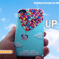 FREE SHIPPING-UP iphone 4 case,designer iphone 5 case,William Ding design,hot air balloon iphone case,crystal iphone case,bling iphone case