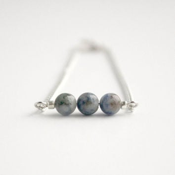Simple Blue Sodalite and Silver Beaded Bar Bracelet - Minimalist Handmade Jewelry - Ready to Ship