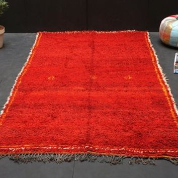 "AUTHENTIC Moroccan Solid Red 5'2""x8'8"" OLD Moroccan Berber Tribal Kilim Moroccan Carpet Hand Knotted Rug BENIOURAIN rug Morocco carpet"