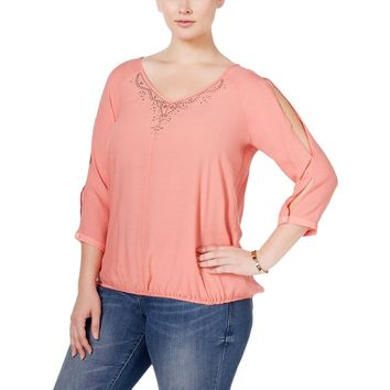 NY Collection Womens Plus Cold-Shoulder Embellished Blouse
