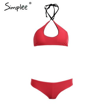 Sexy halter bikini set swimwear women Summer beachwear backless two-piece swinsuit Vintage padded hollow out sportsuit