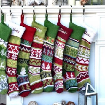 "Personalized Knit Christmas Stockings Large 28"" Red Green White Tone Modern Fair"