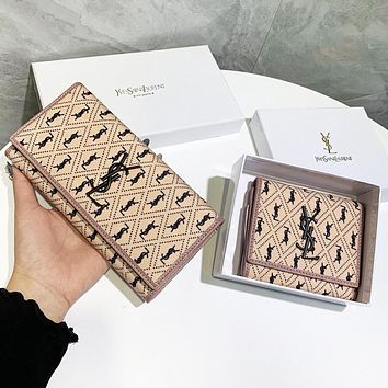 YSL Fashion New More Letter Leather Women Wallet Purse