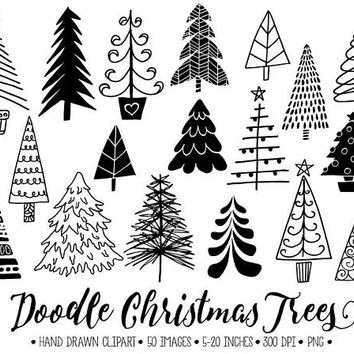 Doodle Christmas Tree Clip Art. Hand Drawn Christmas Illustrations. Winter Fir Tree Images. Christmas Clipart for Gift Tags, Christmas Cards