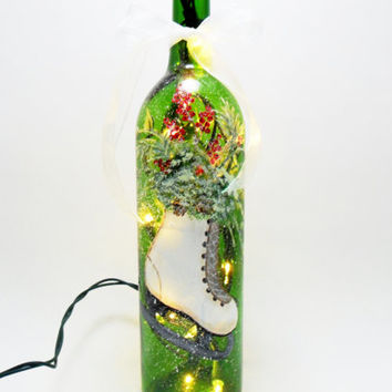 Lighted Wine Bottle Ice Skate Hand Painted Christmas Winter 750ml