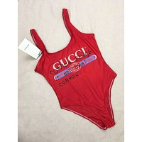 GUCCI Beach Fashion Summer New Bust Stripe Letter Graffiti Vest Swimsuit Wading Sports One Piece Bikini Red