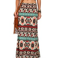 Ivory/Mint/Red Geometric Tribal Print Maxi Skirt