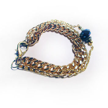 Gold Chain Charm Bracelet with Faceted Metallic Blue Bead, Hematite & Mini Skull
