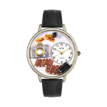 Whimsical Watches Designed Painted Photographer Black Padded Leather And Silvertone Watch