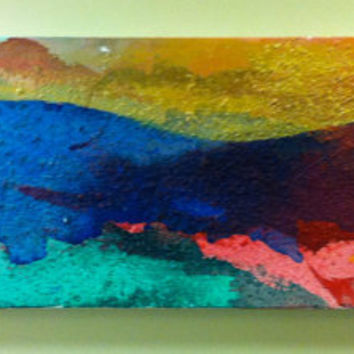 "ORIGINAL Acrylic Abstract Painting 15""x45"" Blues, Reds, Turquoises, Golds"