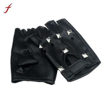ac DCCKO2Q Gloves Men Theatrical Punk Hip-hop PU Black Leather Gloves Half-finger Gloves Square Nail Guantes