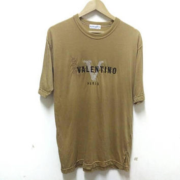 Authentic Andre Valentino Paris Embroidery big logo spellout T-shirt vintage