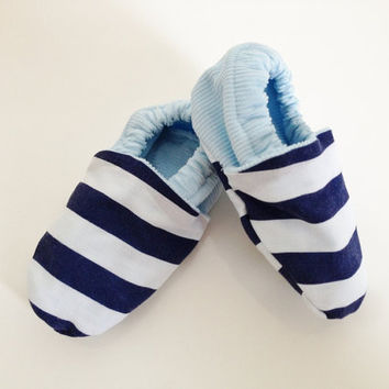 Nautical baby shoes, 6-12 months, navy stripes, unique baby, boys sailor shoes, boy baby shoes, nautical style, baby slippers, soft sole, UK