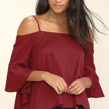 Socialite Dark Red Long Sleeve Top