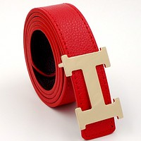 HERMES men and women models casual fashion belt Red