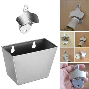 Iron Wall Mounted Bottle Cap Opener+ Catcher Box Screws Tubes for Bar Cola Beer