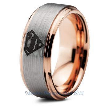 Superman Tungsten Wedding Band Ring Mens Womens Beveled Edge Brushed Rose Gold Fanatic Comic Geek Anniversary Engagement ALL Sizes Available