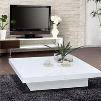 Modrest 1005C - Modern White Lacquer Coffee Table