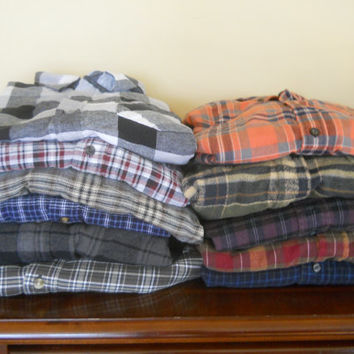 Mystery FLANNEL Great lot of Large and XL Men's Flannel shirts Grunge hipster XL boyfriend shirt