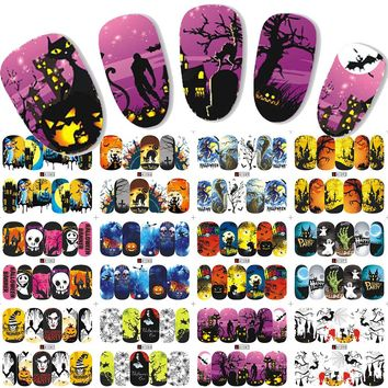 12Designs Skeleton Pumpkin Halloween Ghost Nail Stickers Water Transfer Full Wraps Foils Decoration of Nail Decals LAA1081-1092