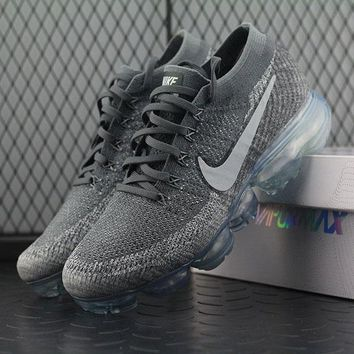 Nike Air VaporMax Vapor Max 2018 Flyknit Men Grey Silver Sport Running Shoes 849558-002