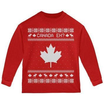 PEAPGQ9 Canadian Canada Eh Ugly Christmas Sweater Toddler Long Sleeve T Shirt