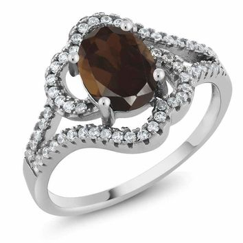 1.87 Ct Oval Brown Smoky Quartz 925 Sterling Silver Ring