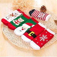 1 Pair Cotton Winter Autumn Baby Girls Boys Kids Socks Children Terry Snowflake Elk Santa Claus Christmas Bear Gift Cheap Stuff